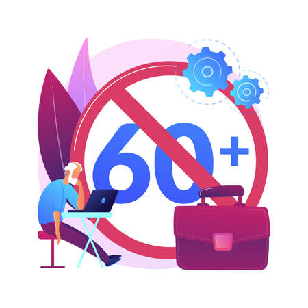 Ageism social problem abstract concept vector illustration.