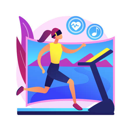 VR fitness gym abstract concept vector illustration.