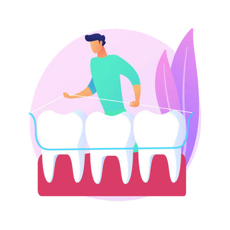Dental tooth plate abstract concept vector illustration.