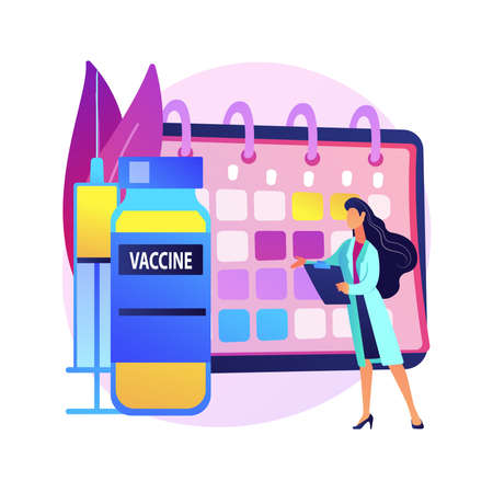 Immunization schedule abstract concept vector illustration.