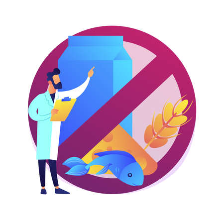 Food allergy abstract concept vector illustration.