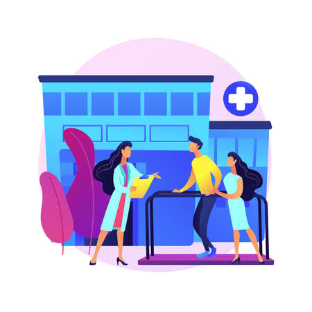 Rehabilitation hospital abstract concept vector illustration. Vector Illustratie