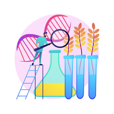 Genetically modified plants abstract concept vector illustration. Ilustração Vetorial