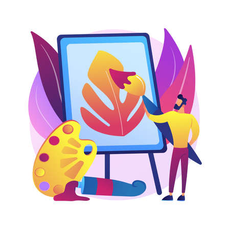 Painting abstract concept vector illustration.