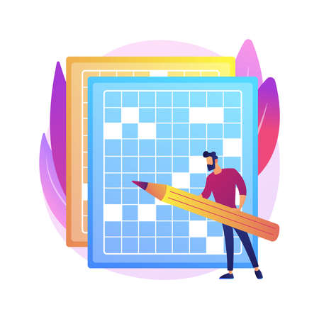 Do a crossword and sudoku abstract concept vector illustration. Stay home games and puzzles, keep your brain in shape, self-isolation time spending, quarantine leasure activity abstract metaphor.