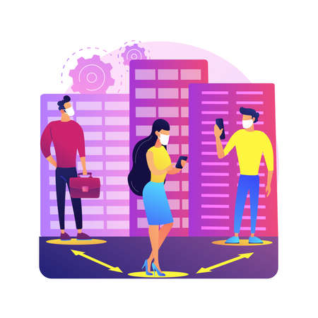 Social distancing abstract concept vector illustration.