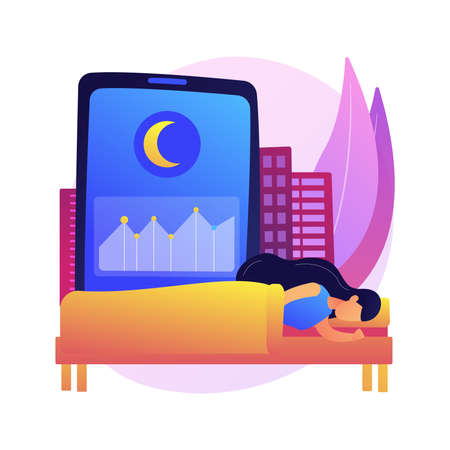 Sleep tracking abstract concept vector illustration.