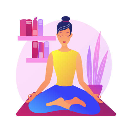 Home yoga abstract concept vector illustration.