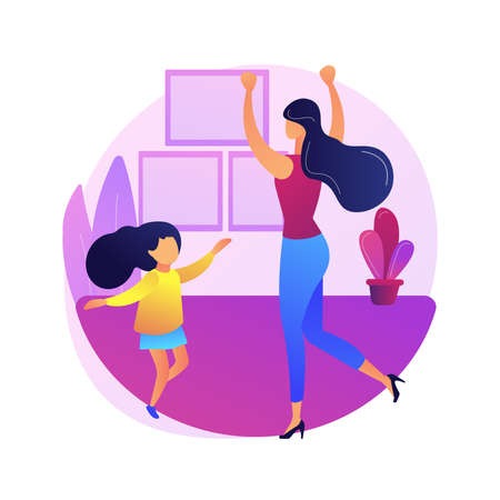At-home dance class abstract concept vector illustration. Home dance quarantine training platform, online lesson, relief stress, live streaming, stay home, social distance abstract metaphor.