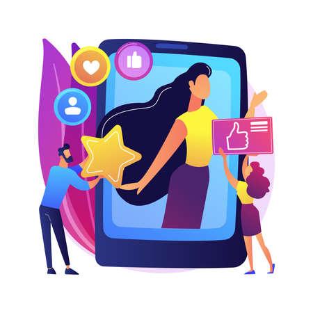 Social media star abstract concept vector illustration.