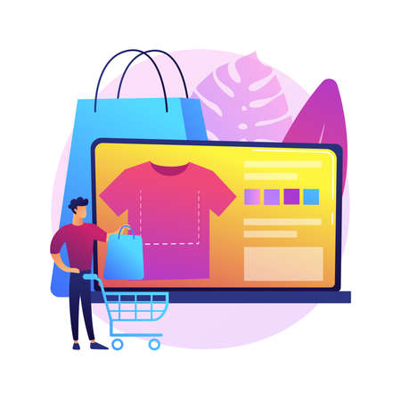 Merch clothing abstract concept vector illustration.