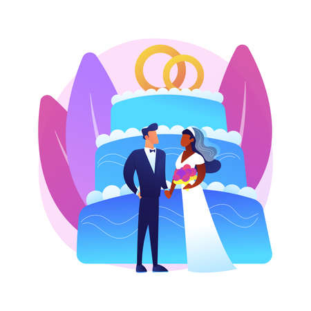 Mixed marriage abstract concept vector illustration.