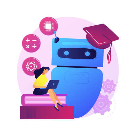Chatbot self learning abstract concept vector illustration.