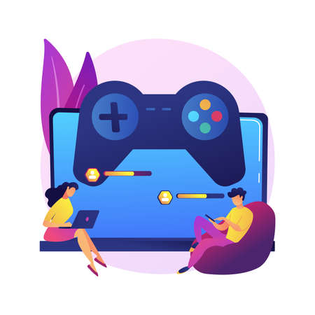 Cross-platform play abstract concept vector illustration.