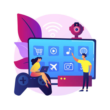 Smart TV accessories abstract concept vector illustration. 向量圖像