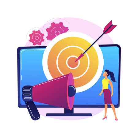 Addressable TV advertising abstract concept vector illustration.