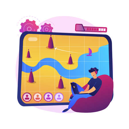 Strategy online games abstract concept vector illustration.