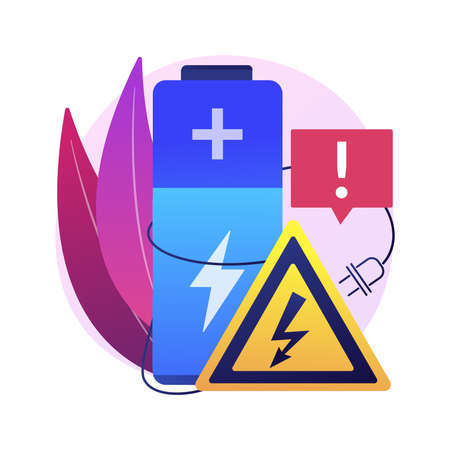 Safety battery abstract concept vector illustration. Charging safety, protected energy device, smartphone battery safe use and recycling, explosion hazard, non-rechargeable abstract metaphor.