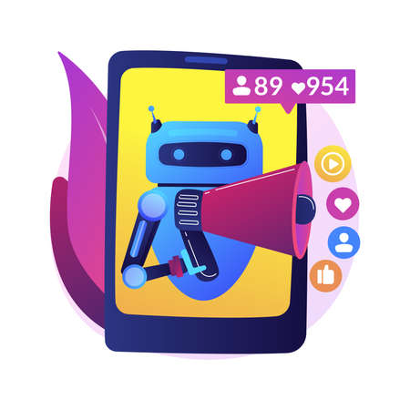 Artificial intelligence in social media abstract concept vector illustration. Artificial intelligence in digital marketing, machine learning in social media, automated algorithm abstract metaphor. Vetores