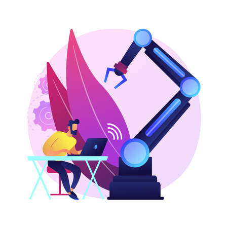 Remotely operated robots abstract concept vector illustration. Remotely operated flexible robot, human control, manipulate robotic system, telerobotics operations, functionality abstract metaphor. Ilustrace