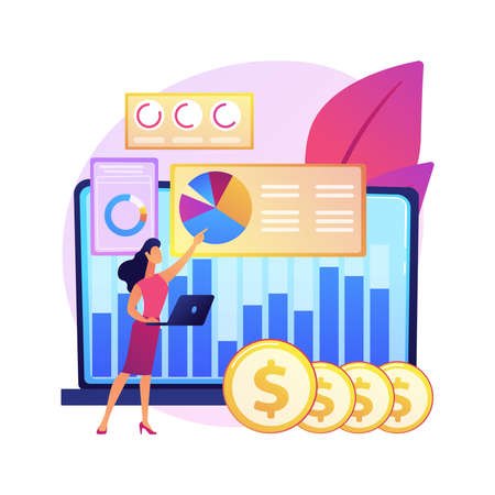 Financial data management abstract concept vector illustration. Financial services software, business strategy, digital data report, risk management, analytics, visualization tool abstract metaphor. Vectores