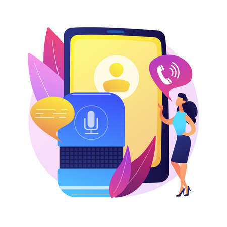 Hands-free phone calling abstract concept vector illustration.