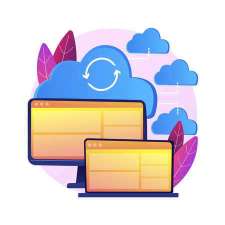 Cloud connection abstract concept vector illustration.