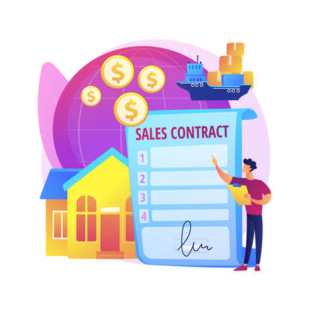 Sales contract terms abstract concept vector illustration.