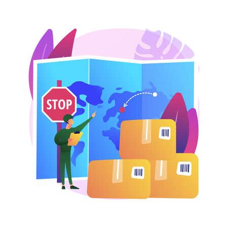 Embargo regulation abstract concept vector illustration.