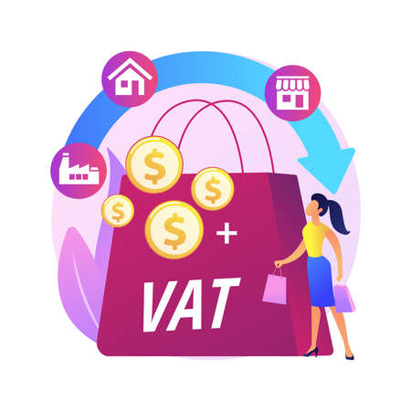 Value added tax system abstract concept vector illustration. Illustration