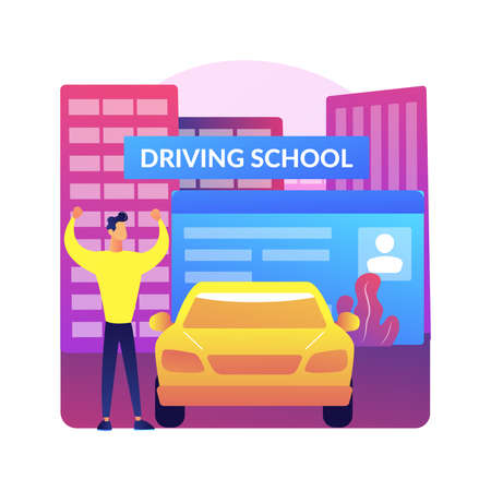 Driving lessons abstract concept vector illustration.