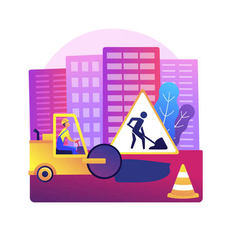 Road works abstract concept vector illustration.
