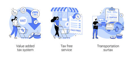 Transportation taxes abstract concept vector illustrations.