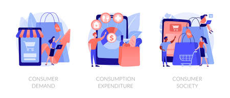 Consumer society abstract concept vector illustrations.