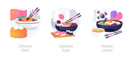 Asian food abstract concept vector illustrations.