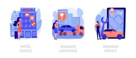 Roadside business abstract concept vector illustrations.