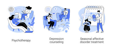 Mental health abstract concept vector illustrations.