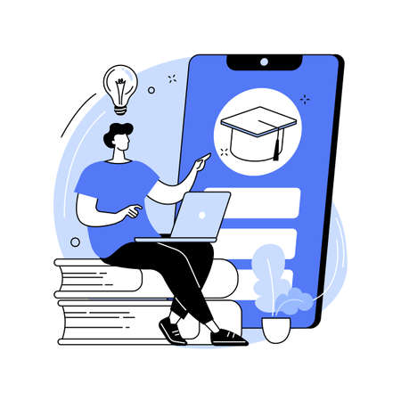 Mobile learning abstract concept vector illustration.