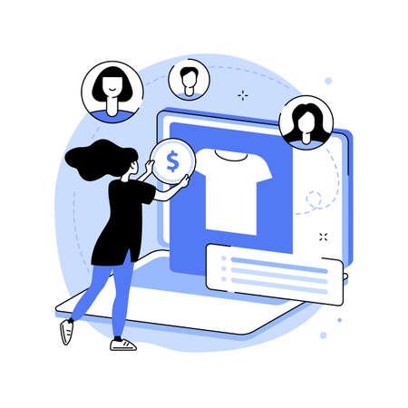 Online flea market abstract concept vector illustration. Vettoriali