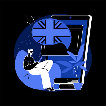 Online language school abstract concept vector illustration.