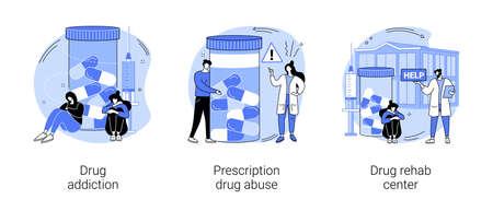 Drug addiction abstract concept vector illustrations. Ilustração
