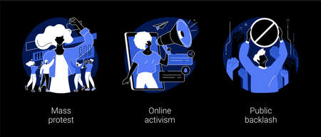 Social movement abstract concept vector illustrations. Иллюстрация