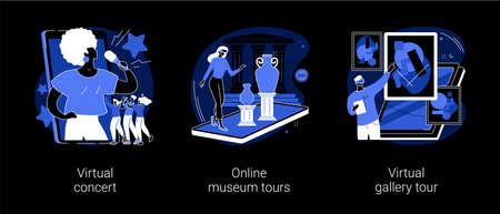 Stay home entertainment abstract concept vector illustrations. Illusztráció