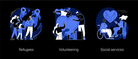 Help people abstract concept vector illustrations.
