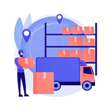 Transit warehouse abstract concept vector illustration.