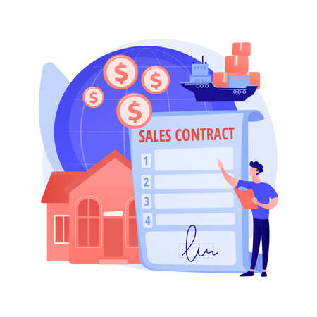 Sales contract terms abstract concept vector illustration. Stock Illustratie