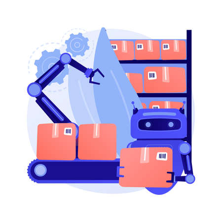 Warehouse robotization abstract concept vector illustration.