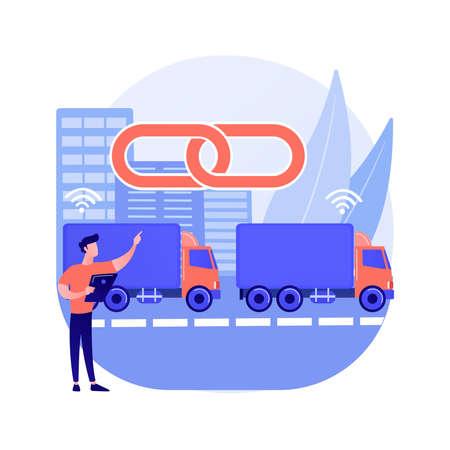 Truck platooning abstract concept vector illustration.