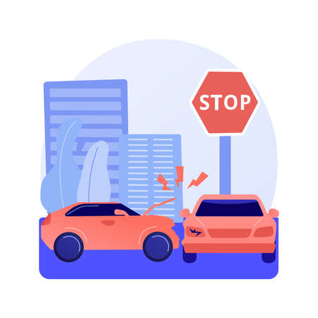 Traffic accident abstract concept vector illustration.