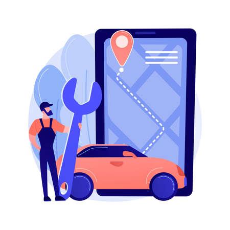 Roadside service abstract concept vector illustration. Vettoriali